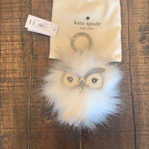 Kate Spade faux fur snowy owl pouf bag charm